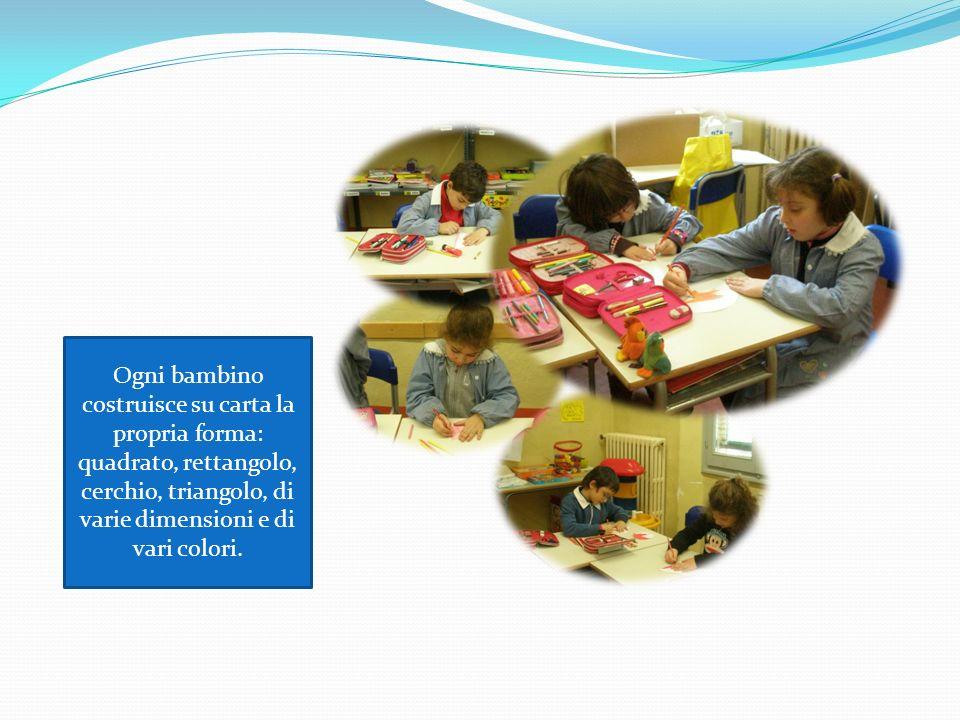 Ogni bambino costruisce su carta la propria forma: quadrato, rettangolo, cerchio, triangolo, di varie dimensioni e di vari colori.