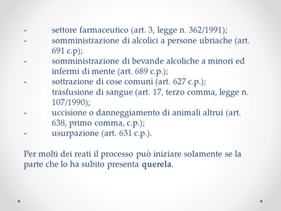 -. settore farmaceutico (art. 3, legge n. 362/1991); -