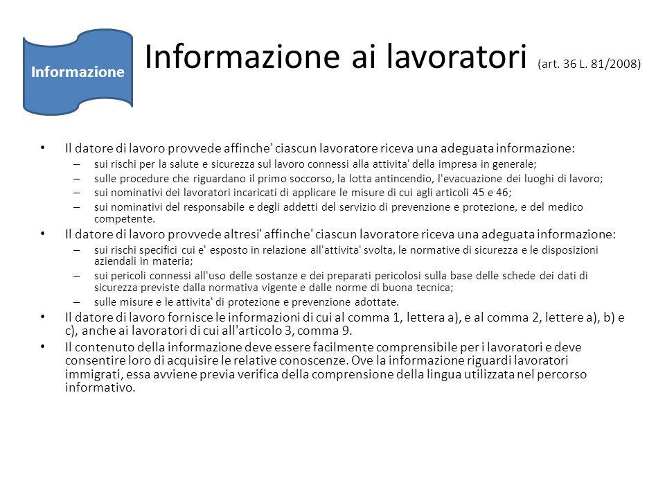 Informazione ai lavoratori (art. 36 L. 81/2008)