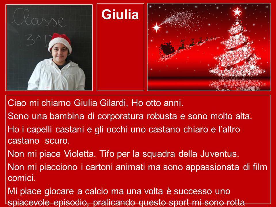 Giulia Ciao mi chiamo Giulia Gilardi, Ho otto anni.