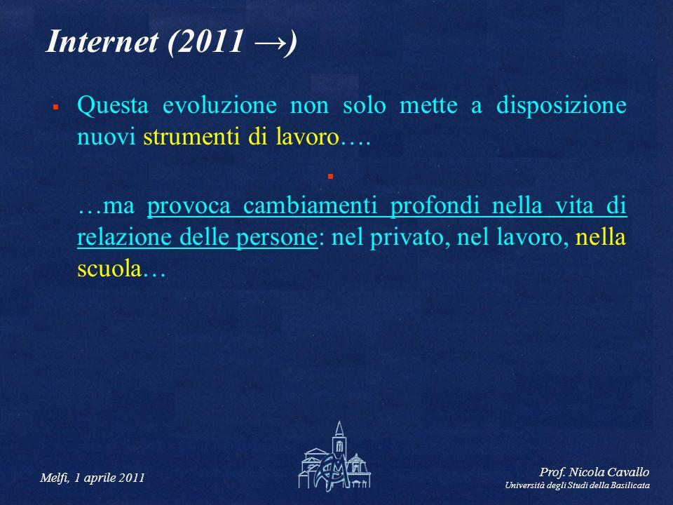 Internet (2011 →) Questa evoluzione non solo mette a disposizione nuovi strumenti di lavoro….