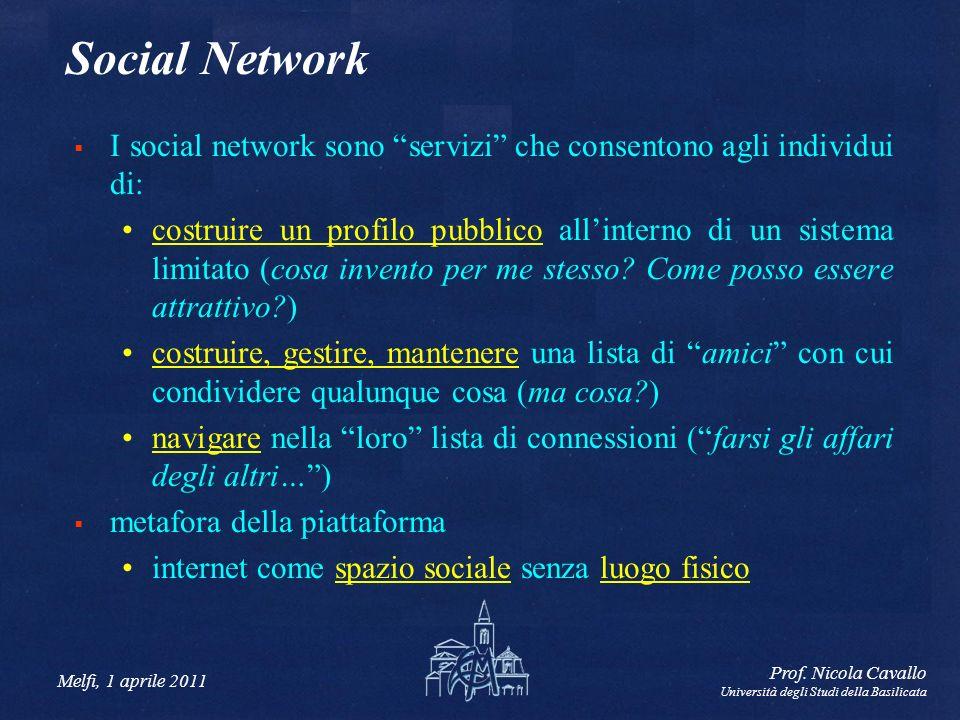 Social Network I social network sono servizi che consentono agli individui di: