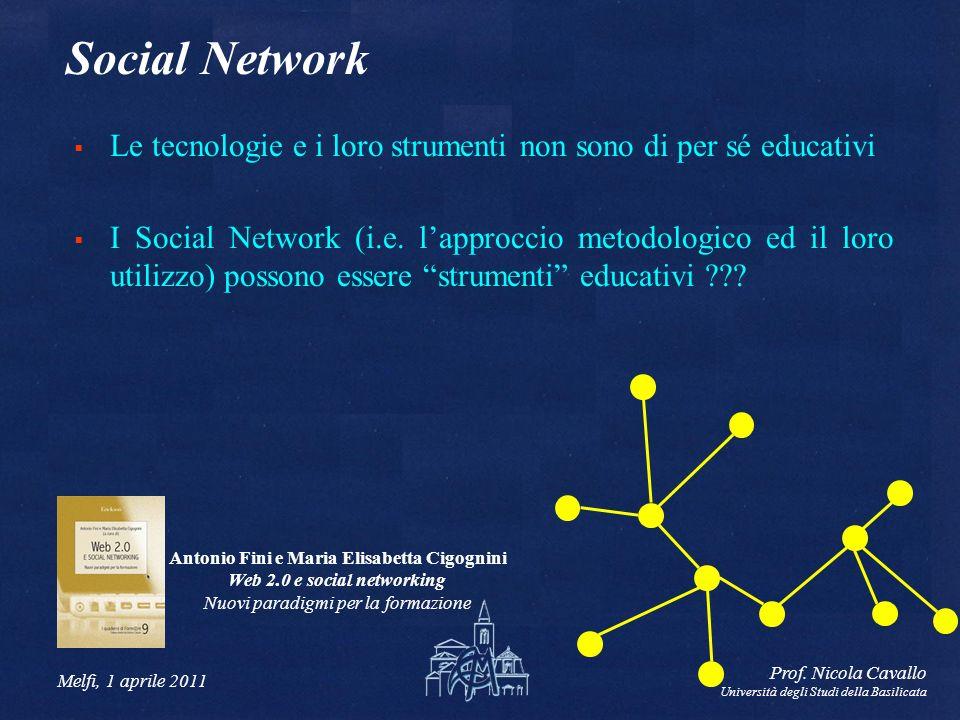 Antonio Fini e Maria Elisabetta Cigognini Web 2.0 e social networking