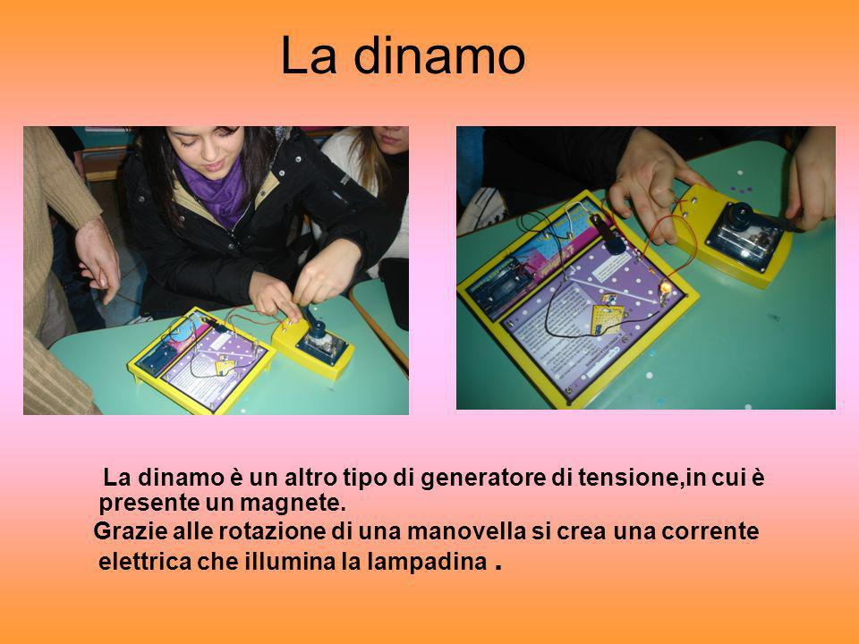 La dinamo La dinamo è un altro tipo di generatore di tensione,in cui è presente un magnete.
