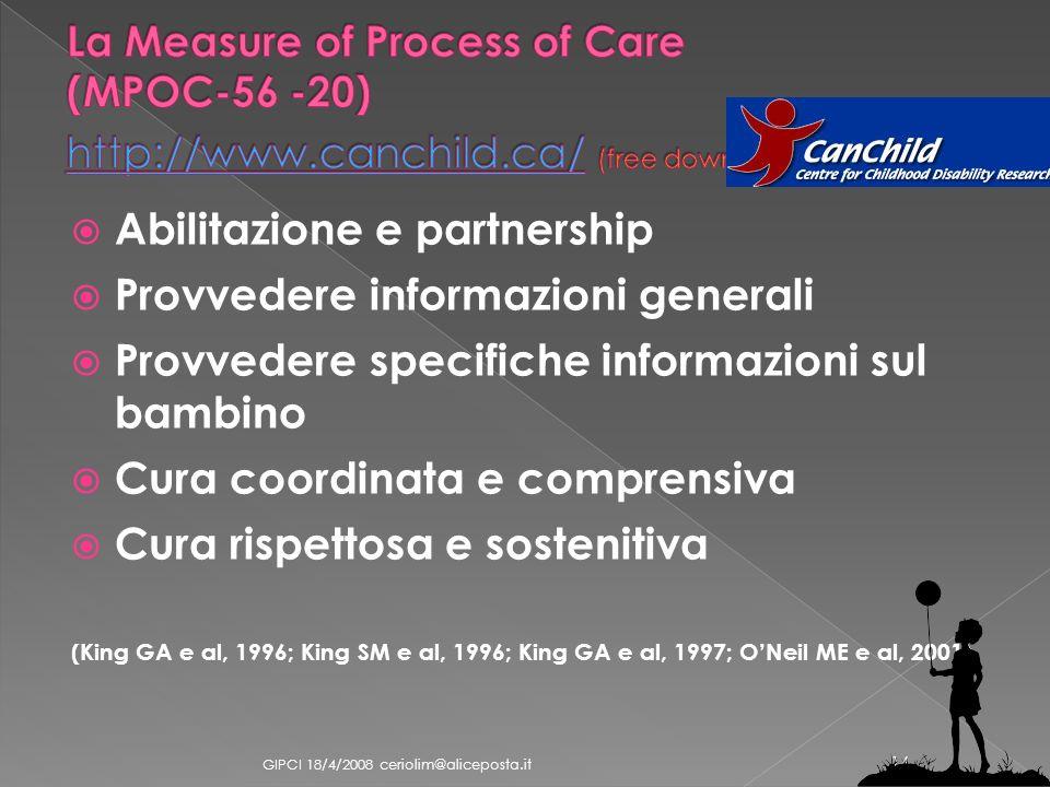 Abilitazione e partnership Provvedere informazioni generali