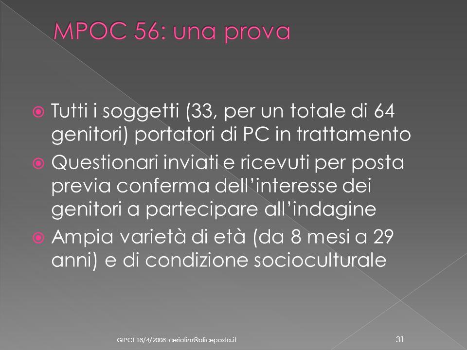 MPOC 56: una prova Tutti i soggetti (33, per un totale di 64 genitori) portatori di PC in trattamento.