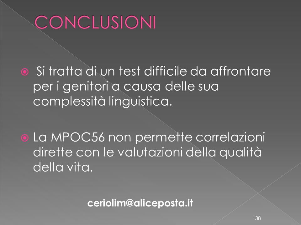 CONCLUSIONI Si tratta di un test difficile da affrontare per i genitori a causa delle sua complessità linguistica.