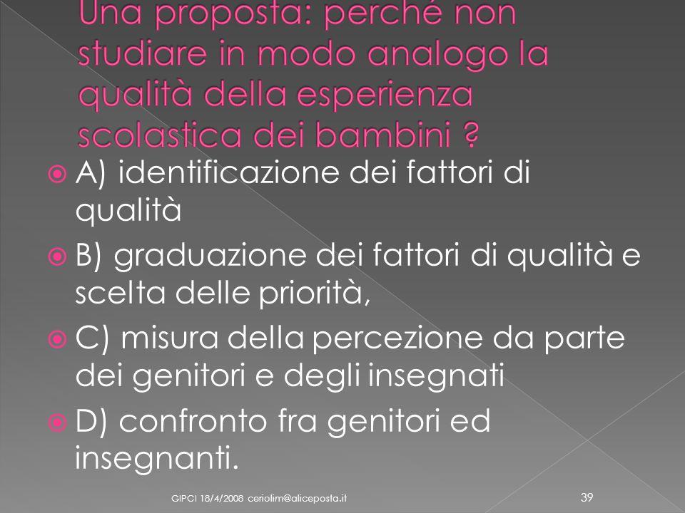 Una proposta: perché non studiare in modo analogo la qualità della esperienza scolastica dei bambini