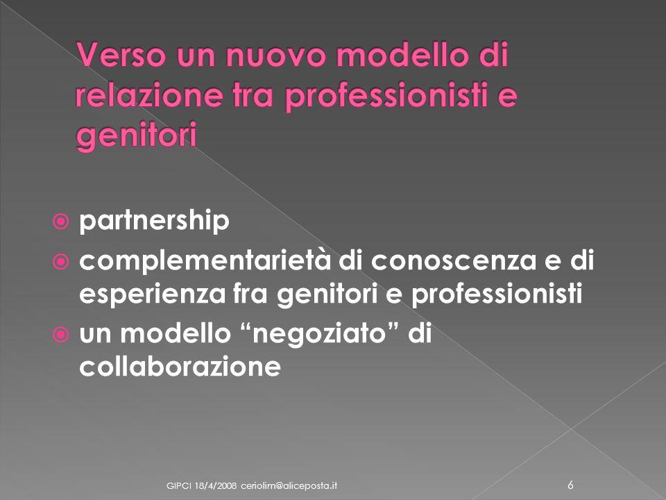 Verso un nuovo modello di relazione tra professionisti e genitori