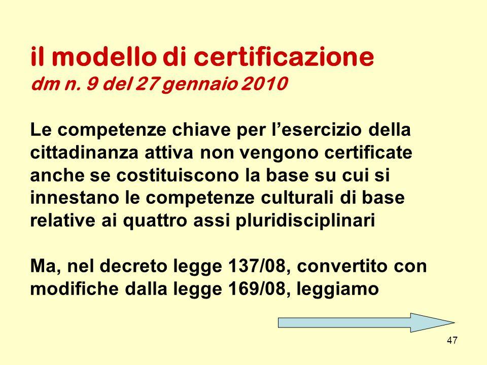 il modello di certificazione dm n