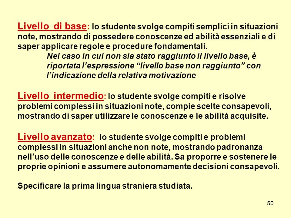 Livello di base: lo studente svolge compiti semplici in situazioni note, mostrando di possedere conoscenze ed abilità essenziali e di saper applicare regole e procedure fondamentali.