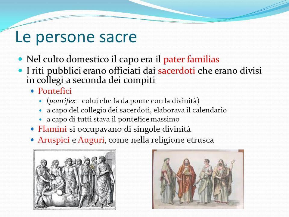 Le persone sacre Nel culto domestico il capo era il pater familias