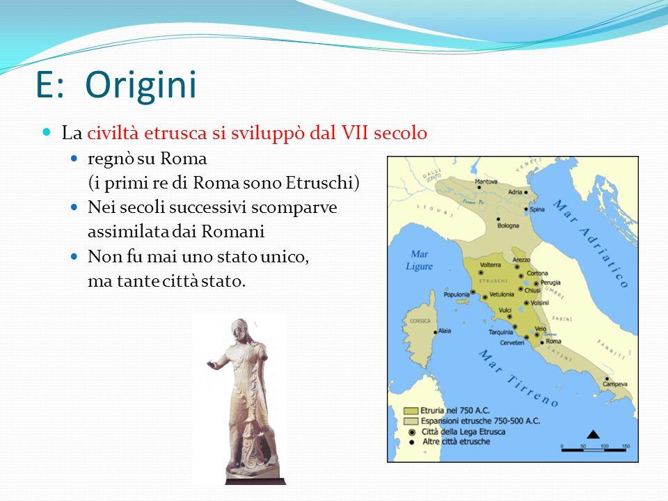 E: Origini La civiltà etrusca si sviluppò dal VII secolo regnò su Roma