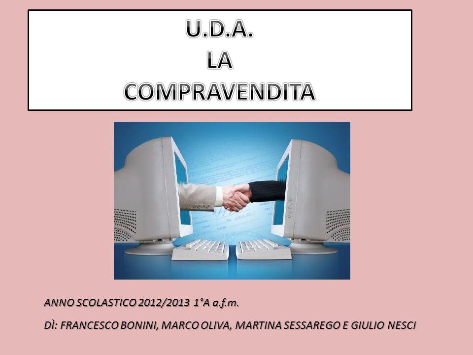 U.D.A. LA COMPRAVENDITA ANNO SCOLASTICO 2012/2013 1°A a.f.m.
