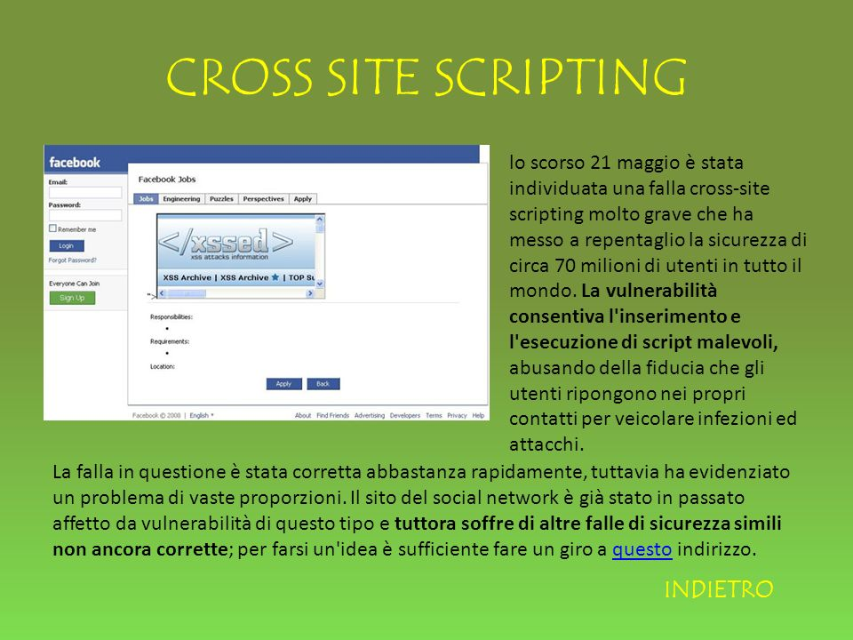 CROSS SITE SCRIPTING INDIETRO