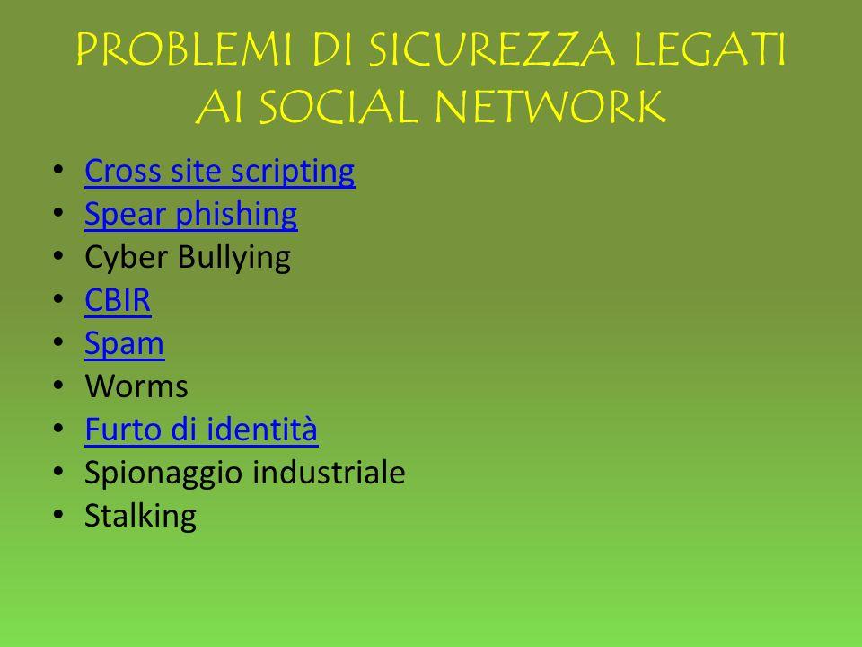 PROBLEMI DI SICUREZZA LEGATI AI SOCIAL NETWORK