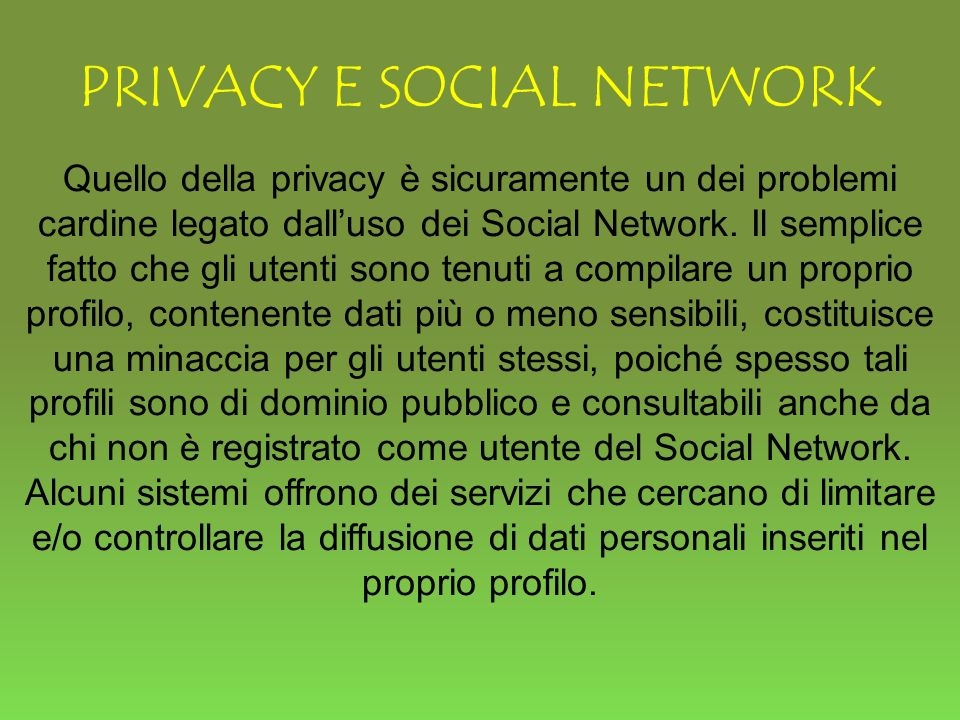 PRIVACY E SOCIAL NETWORK