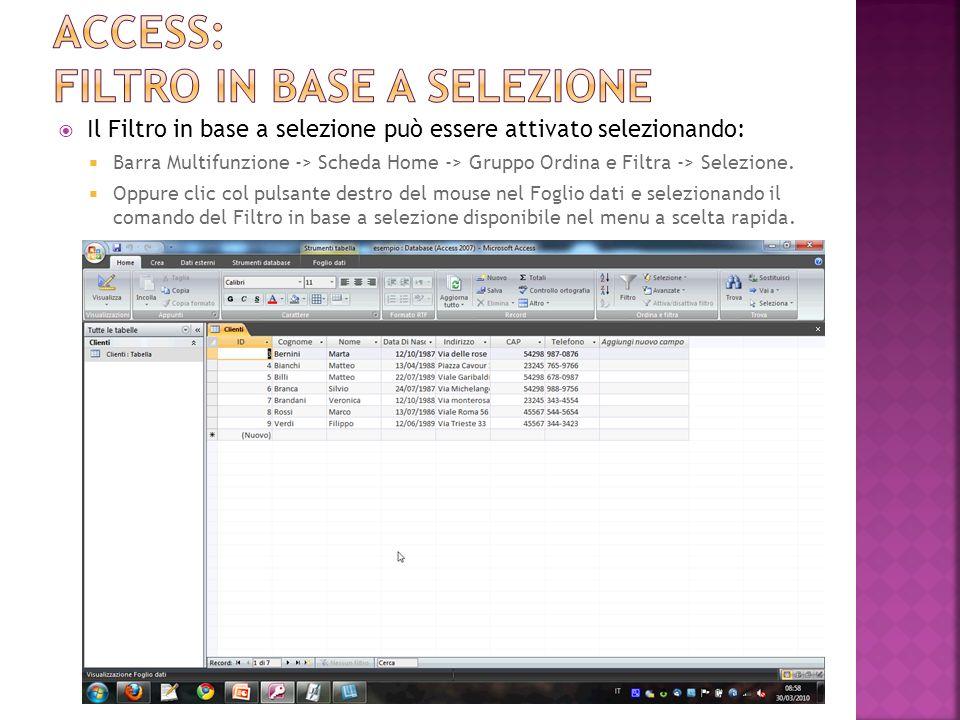 Access: filtro in base a selezione
