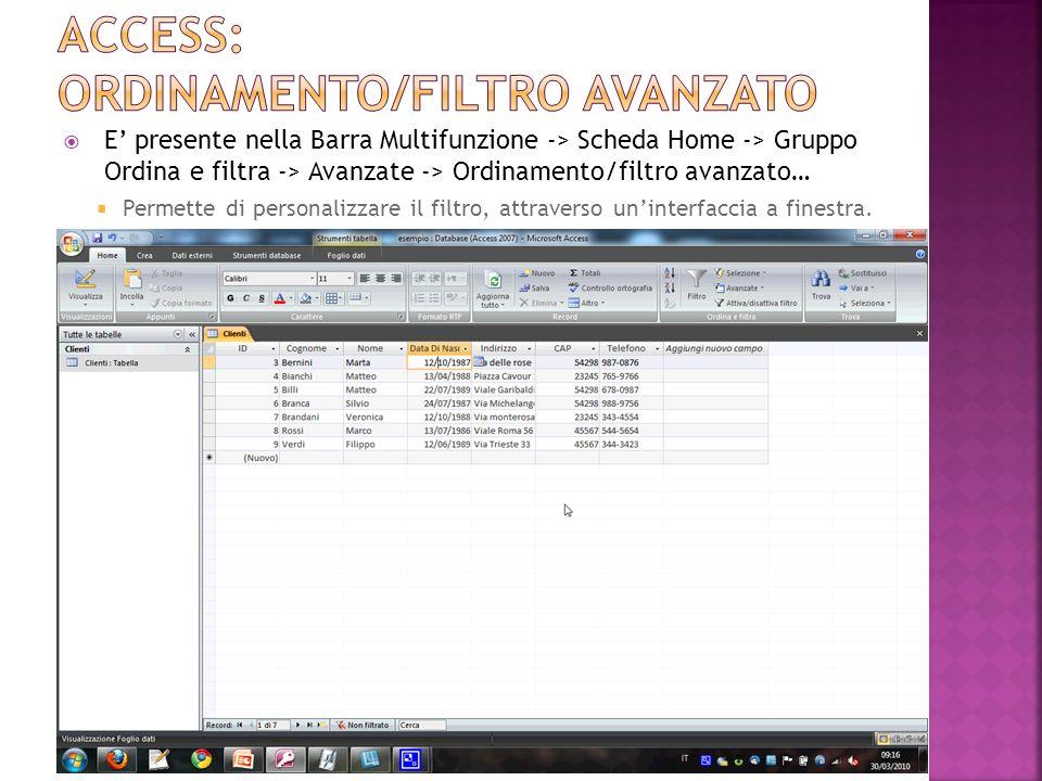 Access: ordinamento/filtro avanzato