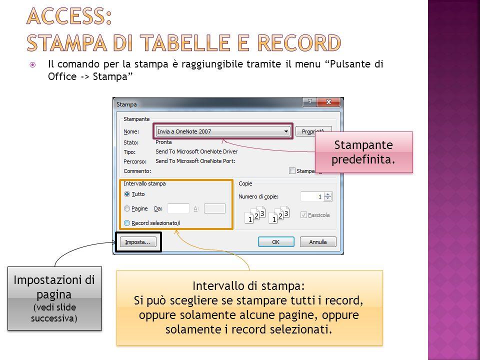 Access: stampa di tabelle e record