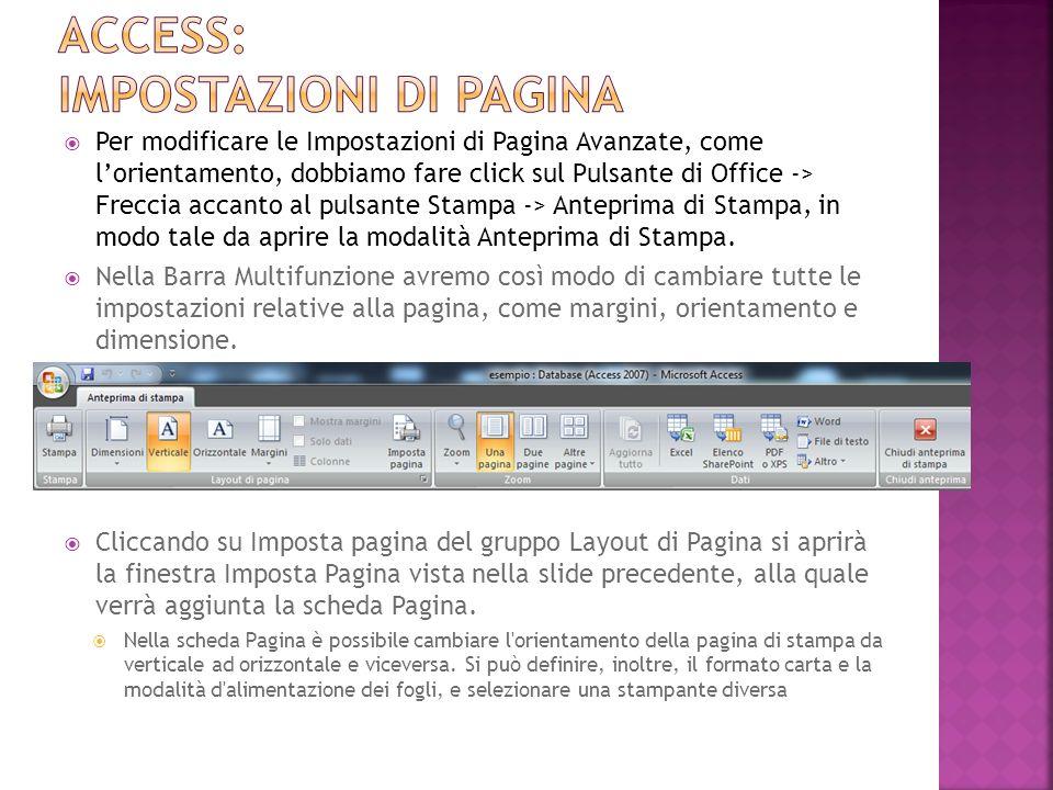 Access: impostazioni di pagina