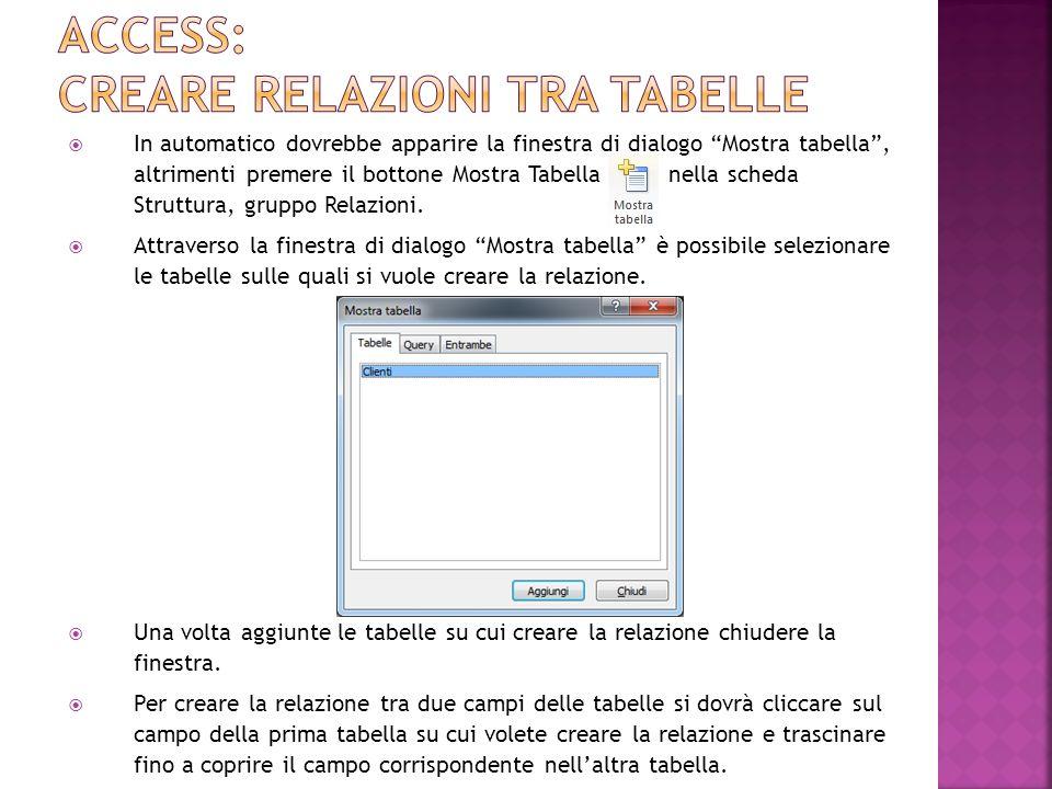Access: creare relazioni tra tabelle