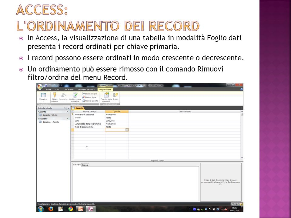 Access: L ORDINAMENTO DEI RECORD