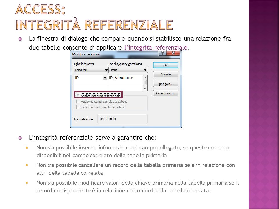 Access: integrità referenziale
