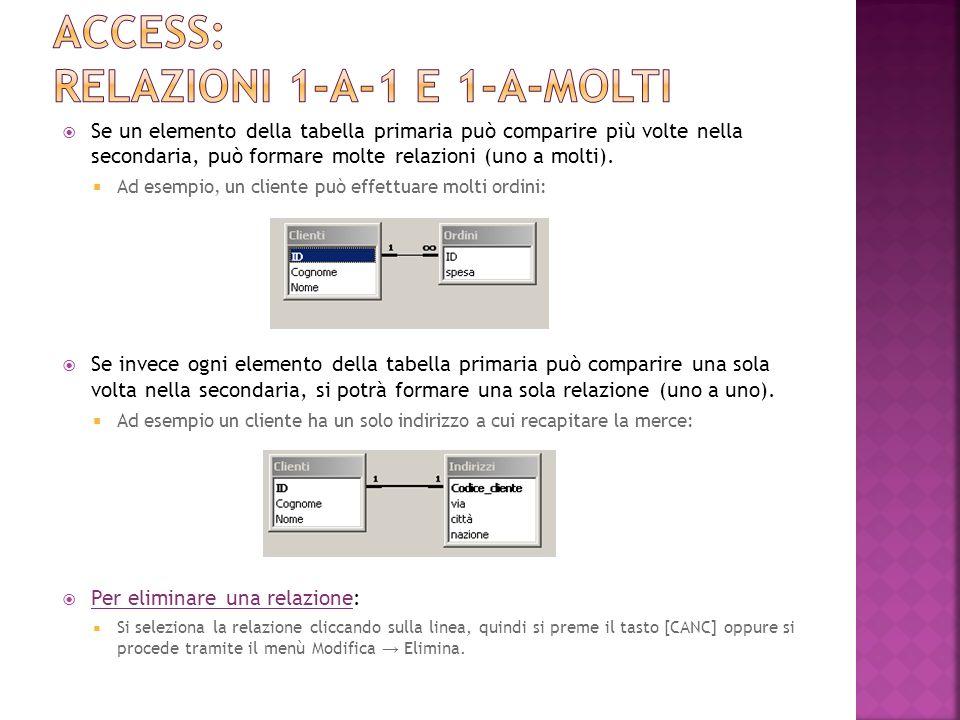 Access: relazioni 1-A-1 e 1-a-molti