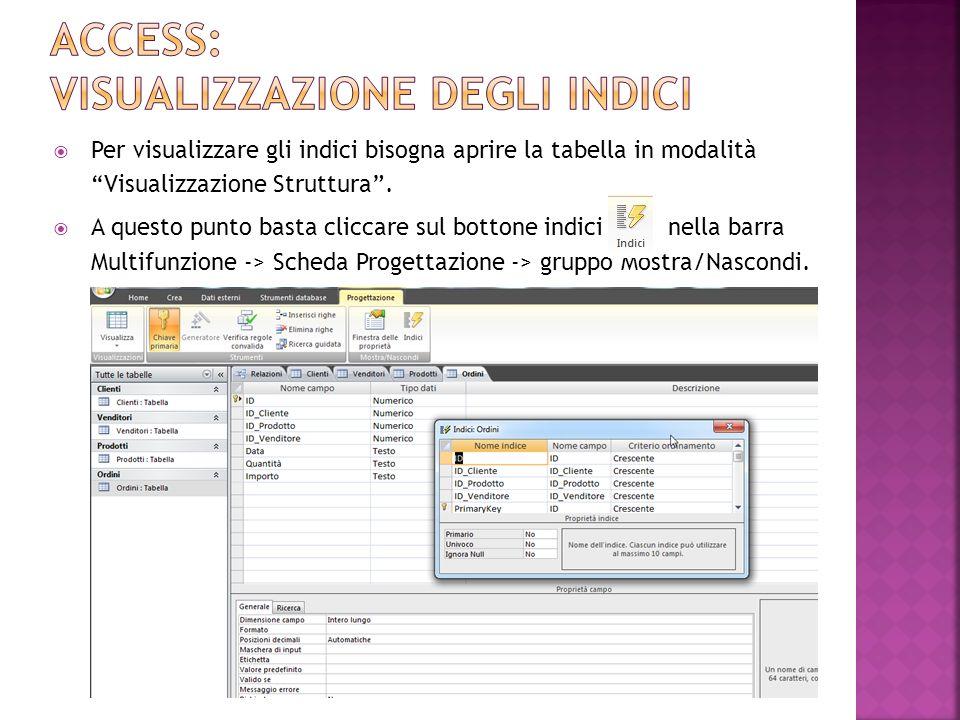 Access: visualizzazione degli indici