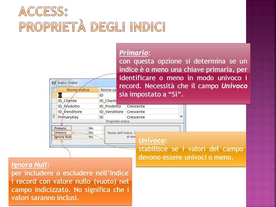 Access: proprietà degli indici