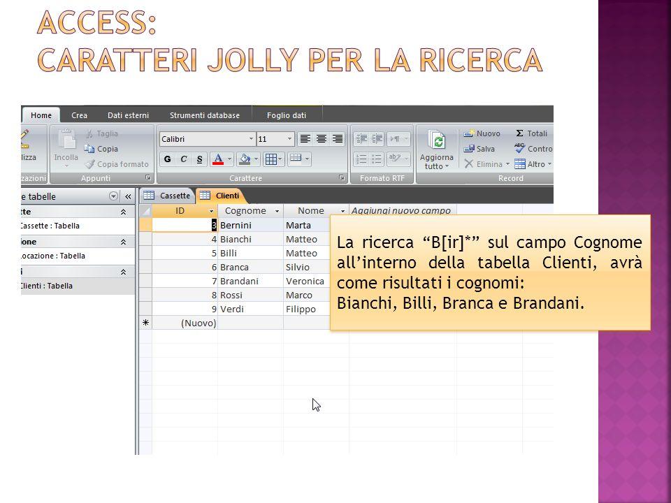 Access: caratteri jolly per la ricerca