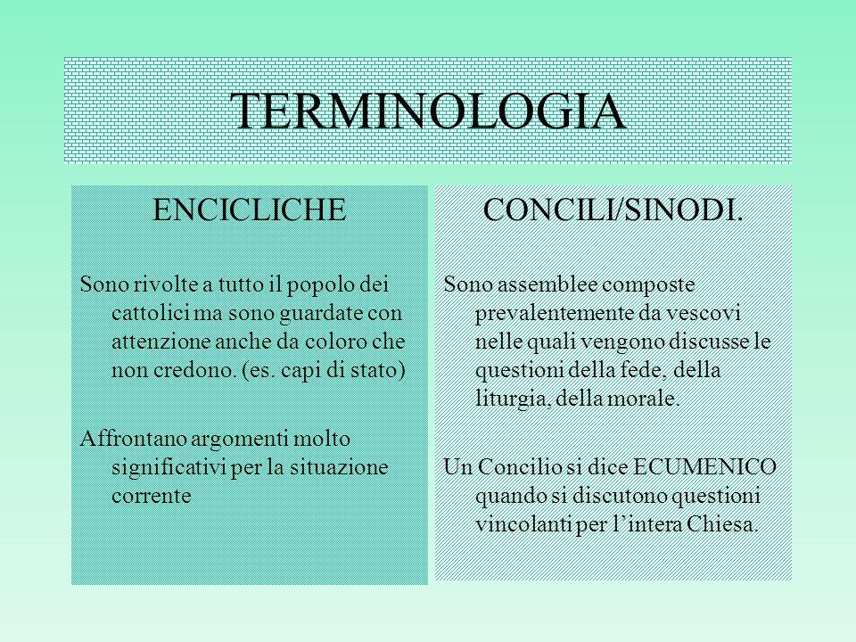 TERMINOLOGIA ENCICLICHE CONCILI/SINODI.