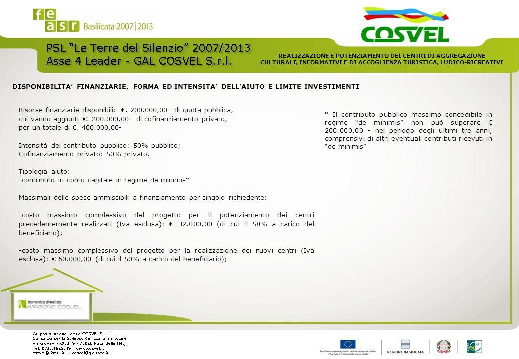 Risorse finanziarie disponibili: €. 200.000,00- di quota pubblica,