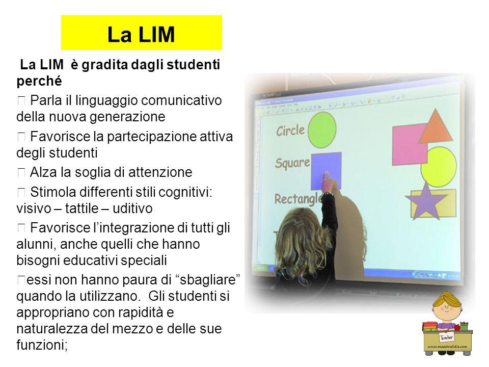 La LIM La LIM è gradita dagli studenti perché