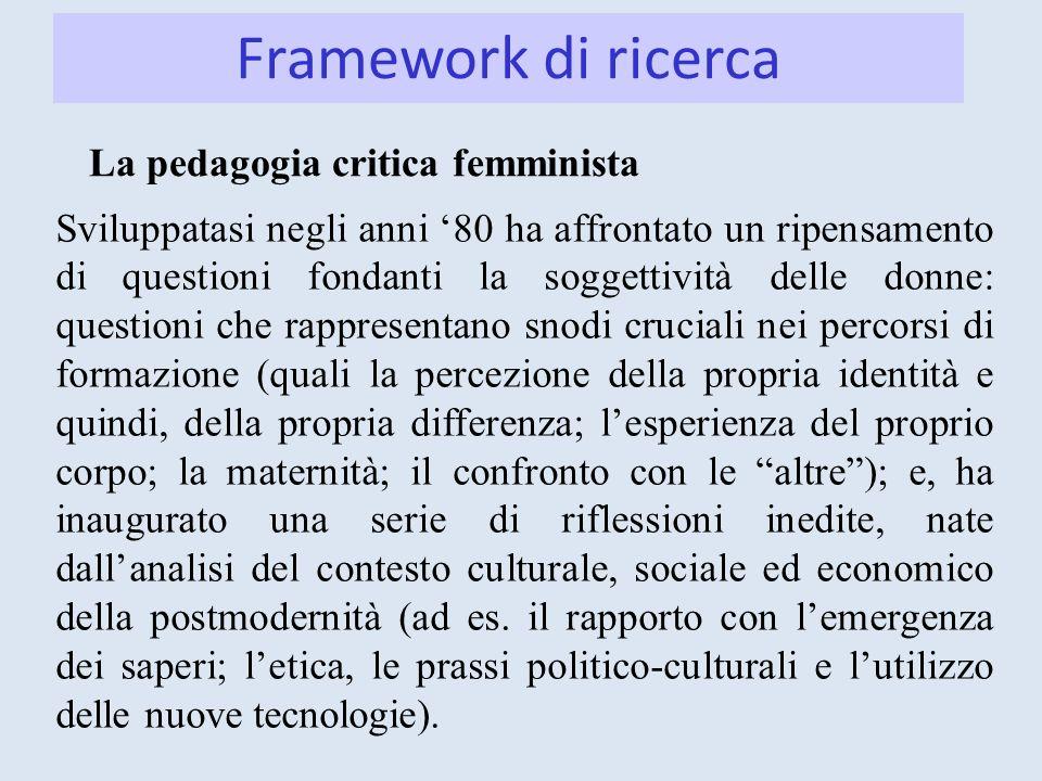 Framework di ricerca La pedagogia critica femminista