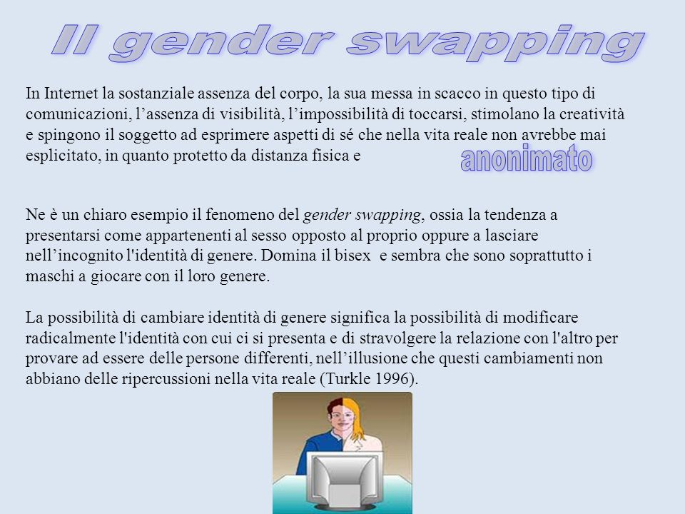 Il gender swapping anonimato