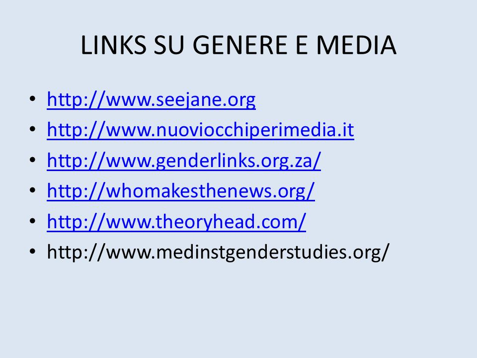 LINKS SU GENERE E MEDIA http://www.seejane.org