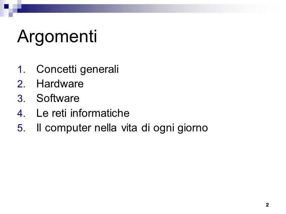 Argomenti Concetti generali Hardware Software Le reti informatiche