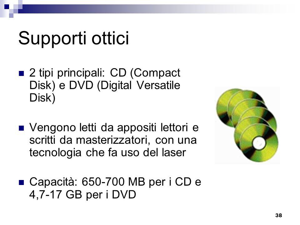 Supporti ottici 2 tipi principali: CD (Compact Disk) e DVD (Digital Versatile Disk)