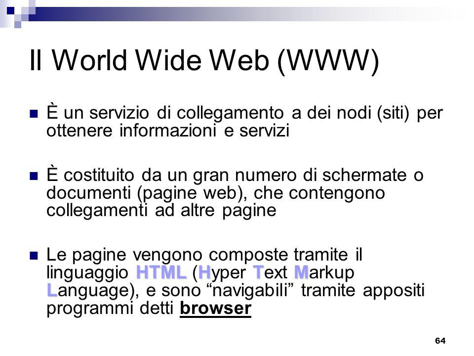 Il World Wide Web (WWW) È un servizio di collegamento a dei nodi (siti) per ottenere informazioni e servizi.
