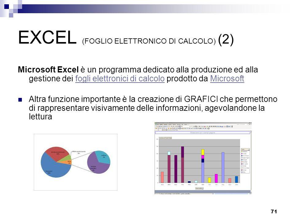 EXCEL (FOGLIO ELETTRONICO DI CALCOLO) (2)