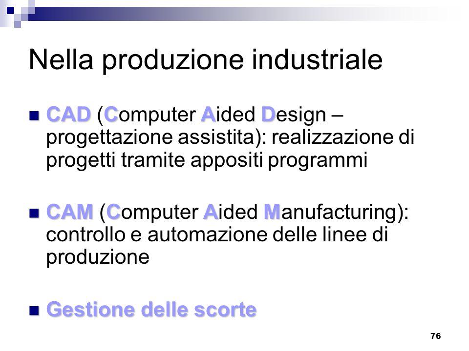 Nella produzione industriale