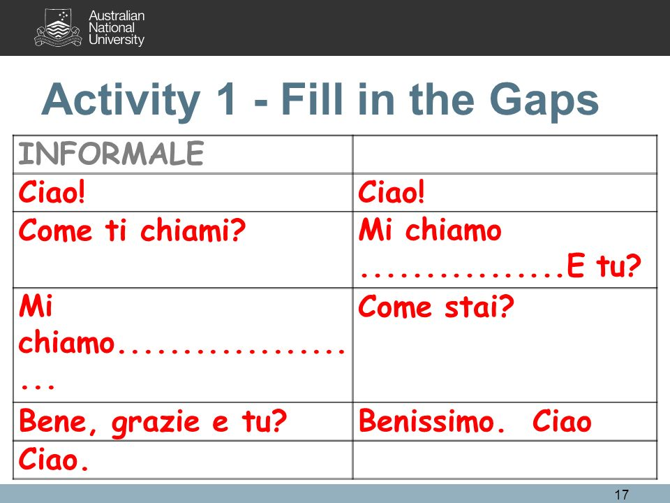 Activity 1 - Fill in the Gaps