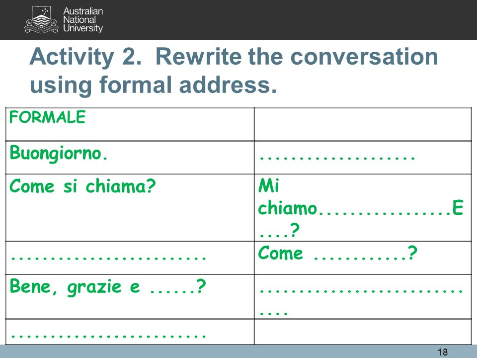 Activity 2. Rewrite the conversation using formal address.