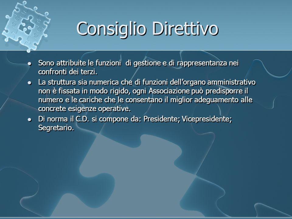 Consiglio Direttivo Sono attribuite le funzioni di gestione e di rappresentanza nei confronti dei terzi.