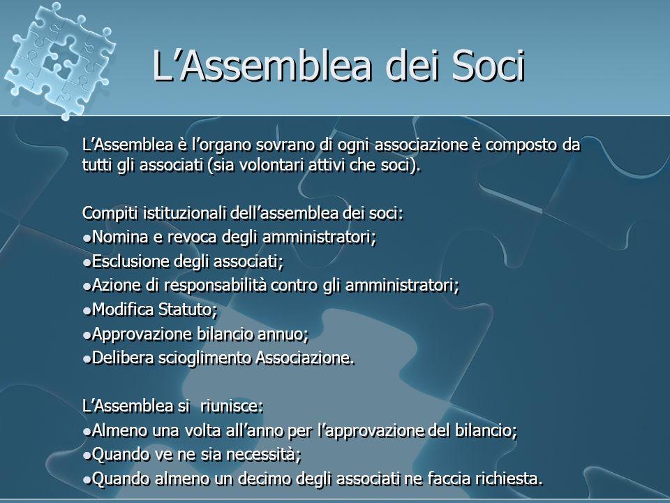 L'Assemblea dei Soci L'Assemblea è l'organo sovrano di ogni associazione è composto da tutti gli associati (sia volontari attivi che soci).