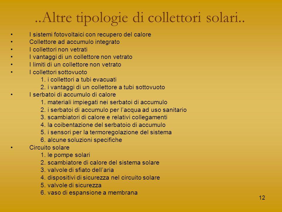 ..Altre tipologie di collettori solari..