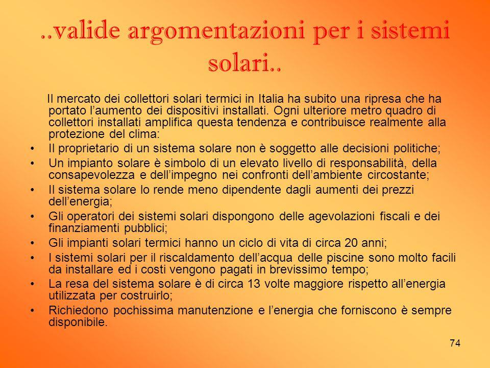 ..valide argomentazioni per i sistemi solari..