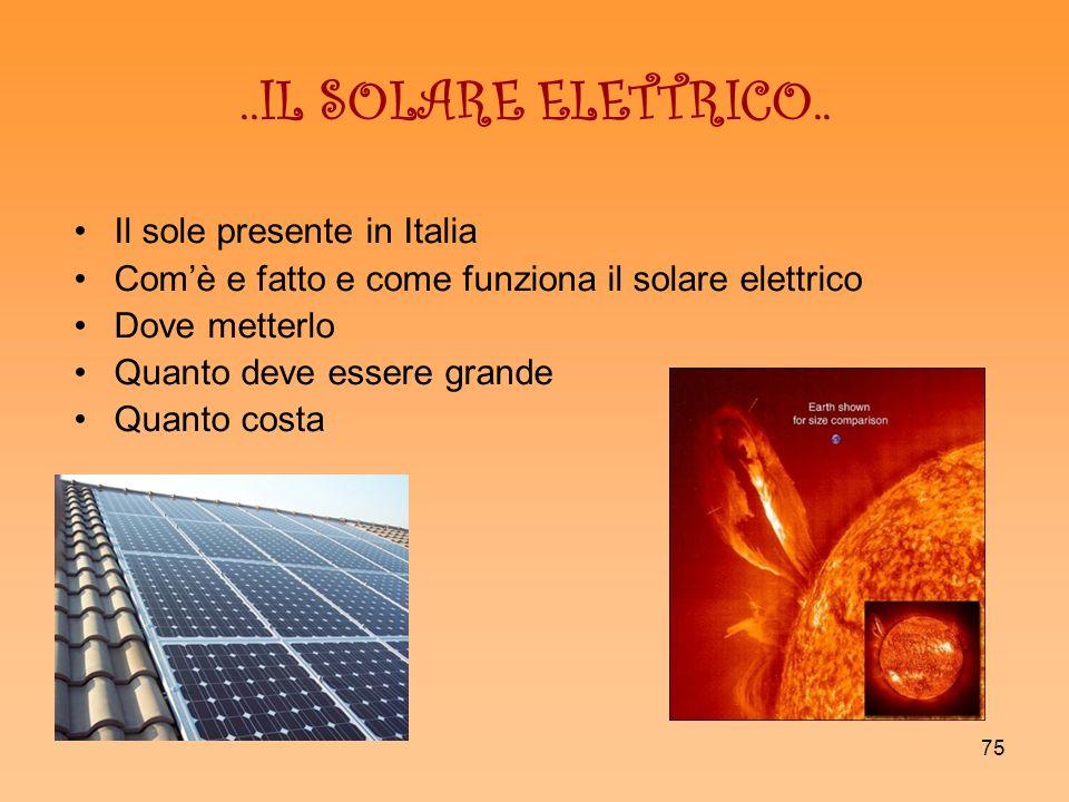 ..IL SOLARE ELETTRICO.. Il sole presente in Italia